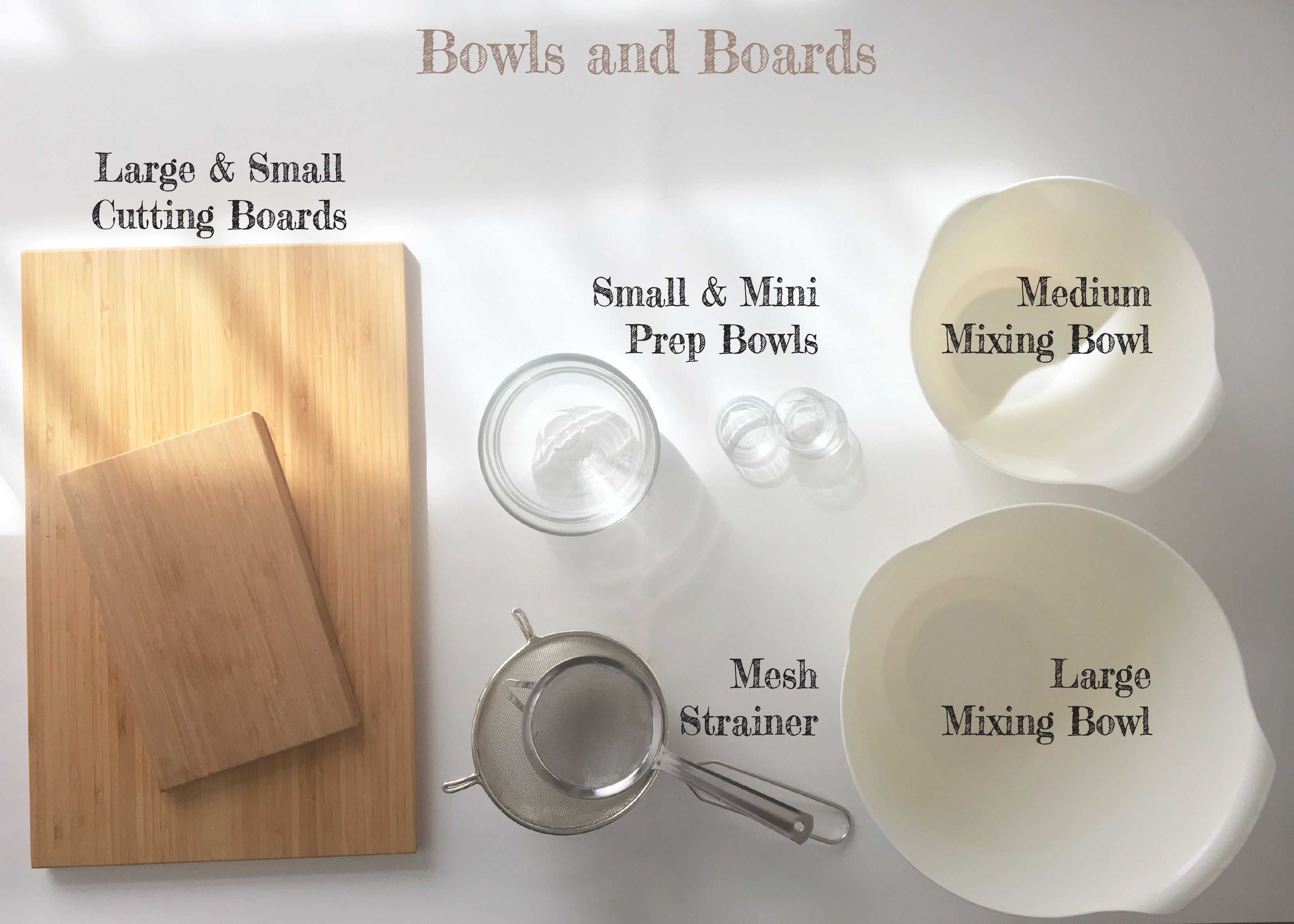 Basic kitchen essentials andrea maronyan - Cutting board with prep bowls ...